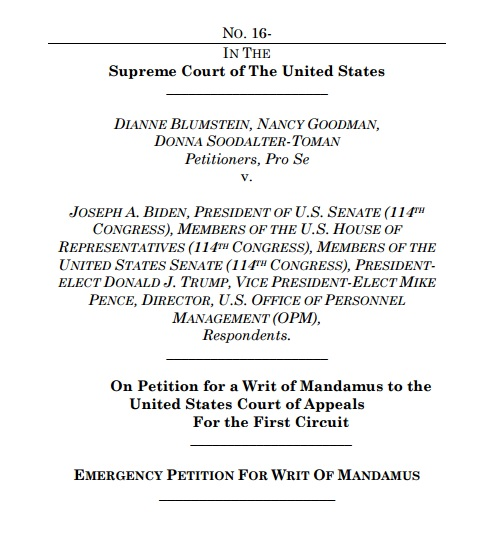 Petition Before SCOTUS Seeks To Nullify Election   THOUGHTS ...